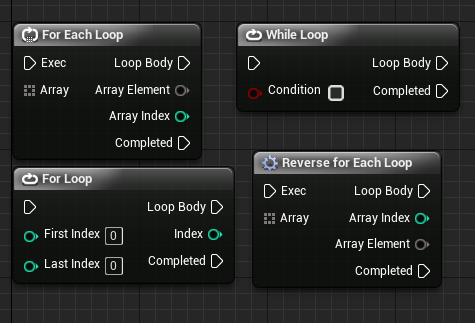 For each loop, while loop, for loop and reverse for each loop in Unreal Engine 4