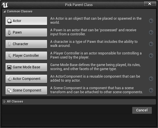 Creating the parent blueprint class