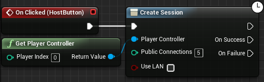 Adding the nodes to the Create Session node