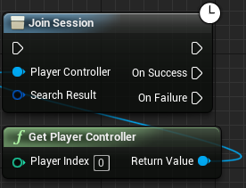 Adding the player controller to the Join Session node