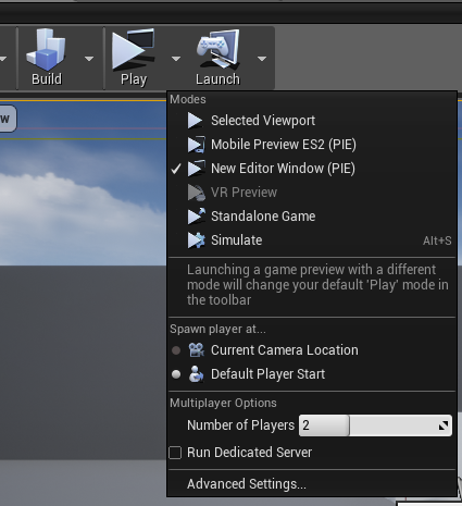 Play settings in Unreal Engine 4