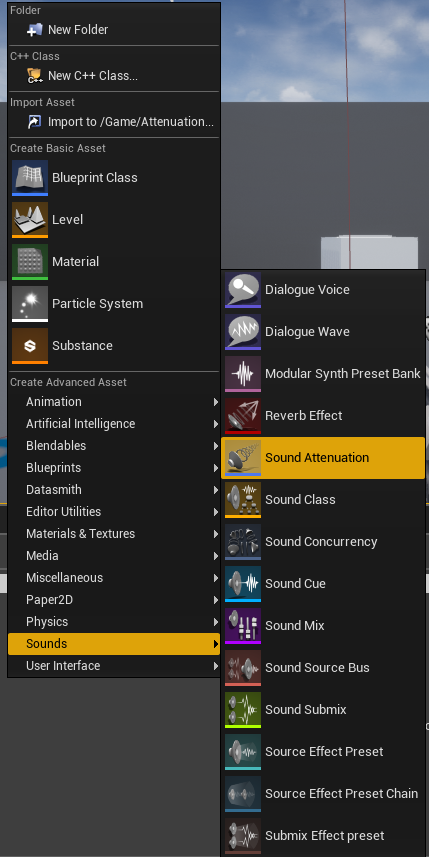 Creating the sound attenuation class in the advanced asset menu.