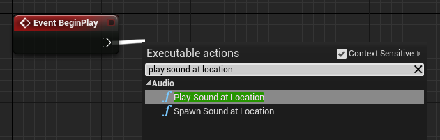 Creating a play sound at location node.