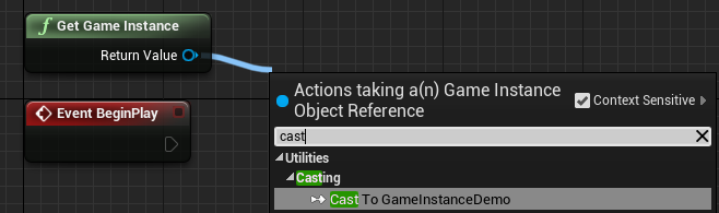 Casting to the game instance created later in the guide