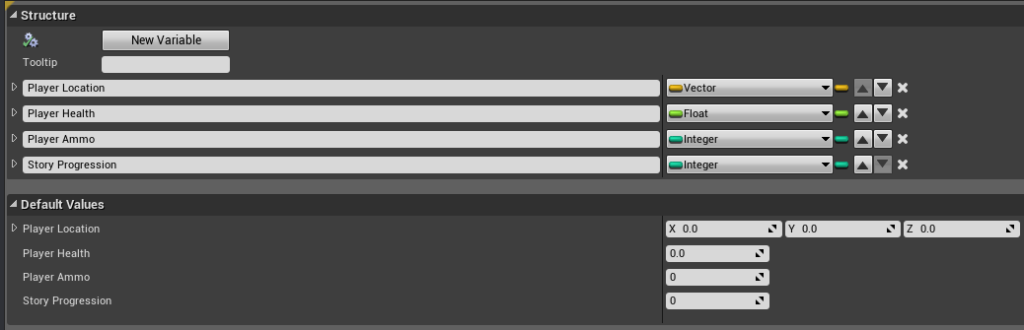 New variables inside the struct