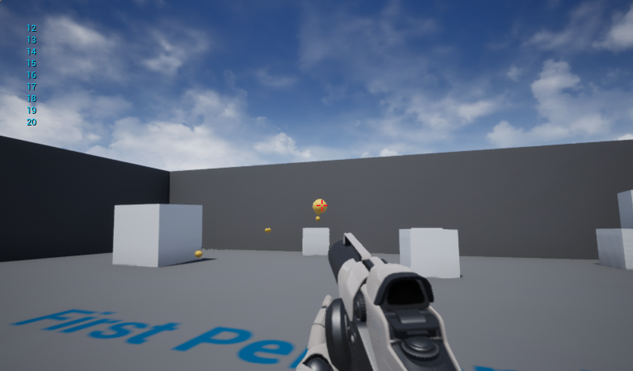 Shooting with left mouse button reduces the ammo and prints the ammo on the screen.