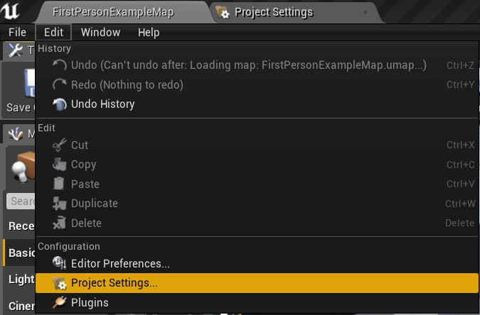 Project settings option
