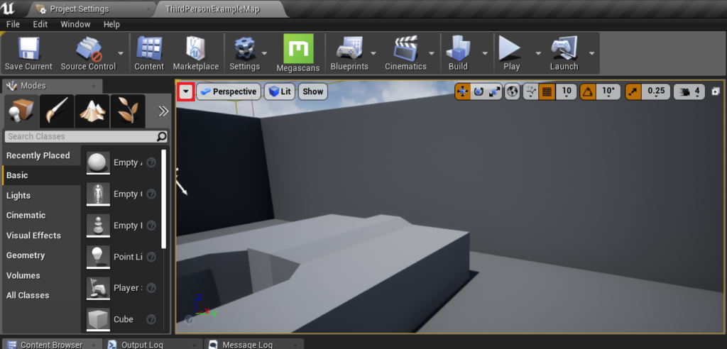 Opening the dropdown box in the top left corner of the viewport.