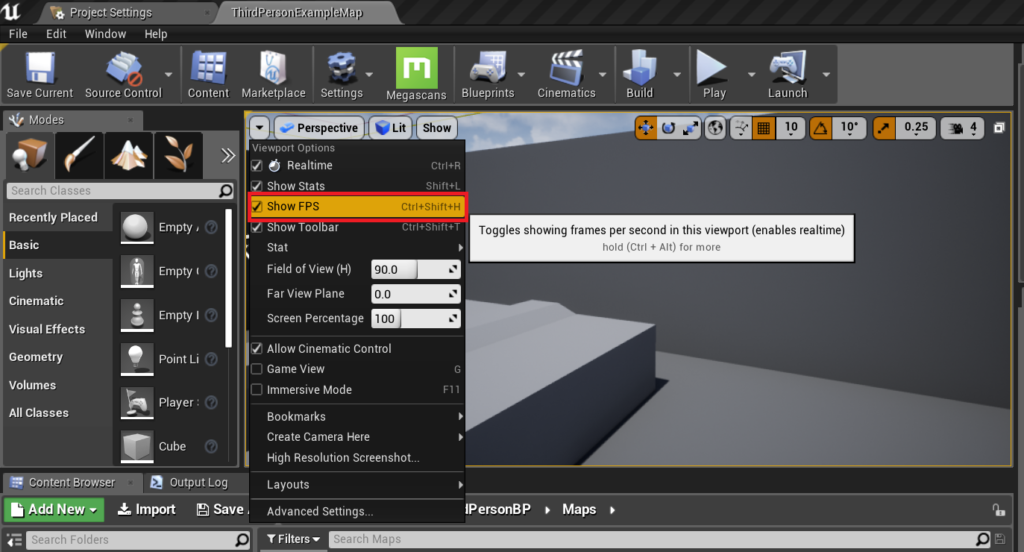 Enabling the fps counter in the viewport.