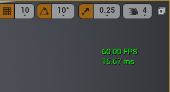 The FPS counter showing inside the editor.