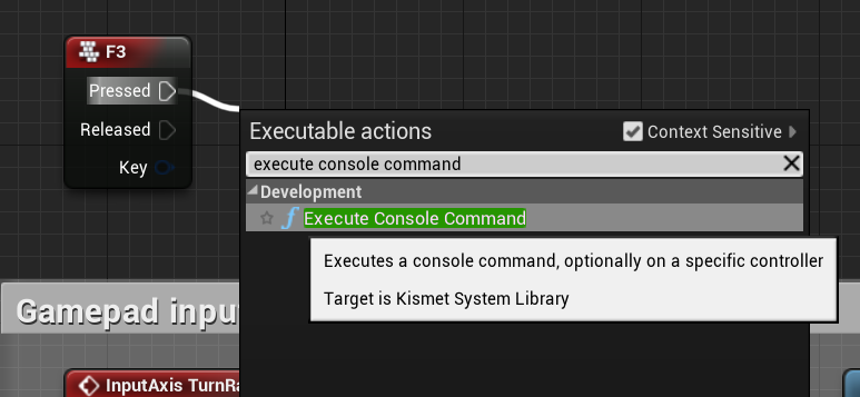 Adding the execute console command node to the f3 key press event