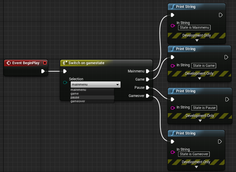 Running different blueprint nodes based on the enum gamestate