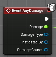 The AnyDamage event that runs every time your actor is damaged