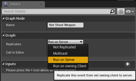 Setting the Net Shoot Event to run on the server