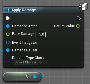 The apply damage node with the damage set to 15.0