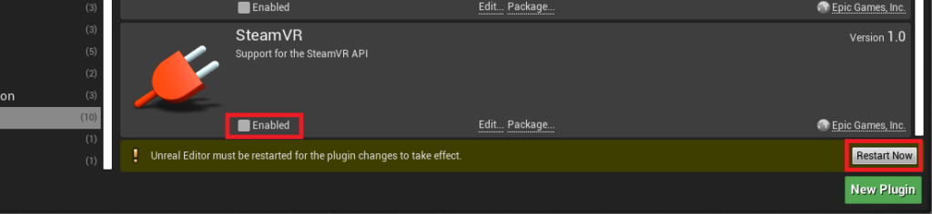 Disable the SteamVR plugin by clicking on the Enabled checkbox. Then click the restart now button to apply these changes to the UE4 editor.