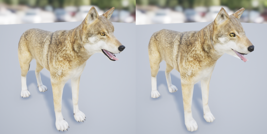 Full level of detail versus 90% reduction of mesh triangles.