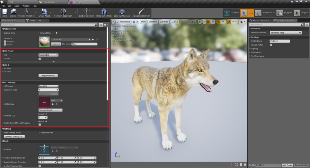 Finding the LOD settings in the skeletal mesh details panel.
