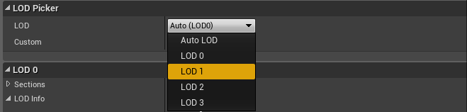 Selecting the LOD 1 option in the LOD Picker.