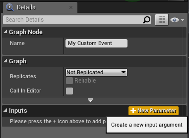 Adding a new input to the custom event