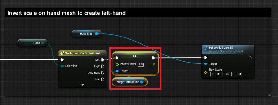 Setting the pointer index to allow for different hand inputs simultaneously.